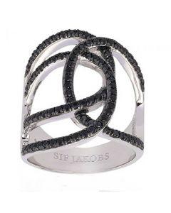 S.J Sølv ring Fucio Grande med sorte zirkoner