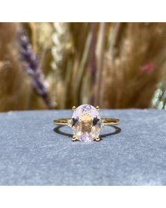 Henrik Ørsnes Design Ring i 14 Karat Guld med Pink Morganit og Brillanter 0,08 Carat W/SI