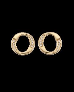 Scrouples Cirkel Øreringe i 14 Karat Guld med Diamanter 0,08 Carat W/SI
