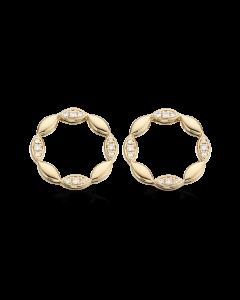 Scrouples Cirkel Ørestikker i 14 Karat Guld med Diamanter 0,10 Carat W/SI