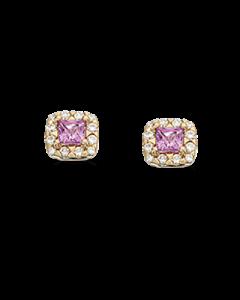 Scrouples Diana 14 Karat Guld Ørestikker med Pink Safir og Brillanter 0,12 Carat W/SI