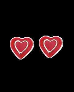 Rødt Hjerte Sterling Sølv Børneøreringe fra Scrouples