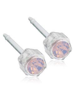 Pastel Light Rose Medicinsk Plastik Øreringe fra Blomdahl med Swarovski Krystaller