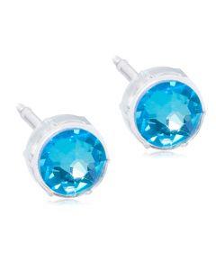 Blomdahl Shiny Blue Medicinsk Plastik Ørestikker med Krystalsten