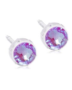 Blomdahl Shiny Violet Medicinsk Plastik Ørestikker med Krystalsten