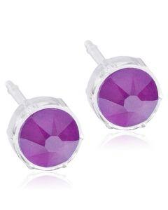 Blomdahl Electric Purple Medicinsk Plastik Øreringe med Swarovski Krystaller