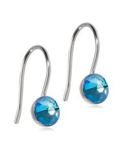 Pendant Bezel Shiny Blue Titanium Øreringe fra Blomdahl med Krystalsten