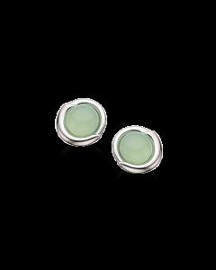 Rhodineret Sølv Øreringe fra Scrouples med Grøn Milky Kvarts