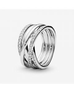 Sparkling And Polished Lines Sterling Sølv Ring fra Pandora