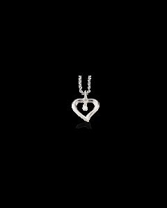 Scrouples Hjerte 14 Karat Hvidguld Vedhæng med Brillanter 0,02 Carat W/SI