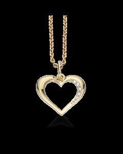 Hjerte 14 Karat Guld Vedhæng fra Scrouples med Diamanter 0,035 Carat W/SI