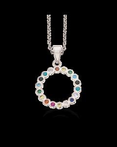 Soho Cirkel Rainbow Rhodineret Sølv Halskæde fra Scrouples