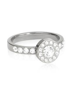 Brilliance Halo Curved Titanium Ring fra Blomdahl med Swarovski Krystaller