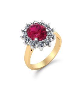 Roset 14 Karat Guld Ring fra med Brillanter 0,60 Carat W/SI