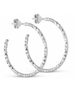 Diamond Cut Large Sterling Sølv Øreringe fra Enamel