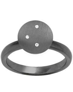 Mini Stary Rhodineret Sølv Ring fra byBiehl