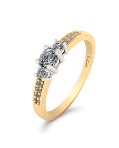 Smykkekæden Josephine 14 Karat Guld Ring med Hvidguld og Brillanter 0,19 Carat W/SI