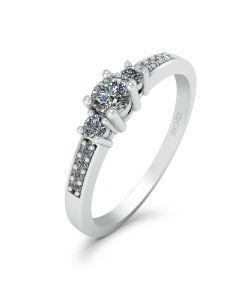 Josephine 14 Karat Hvidguld Ring fra Smykkekæden med Diamanter 0,19 Carat W/SI
