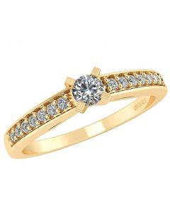 Feline 14 Karat Guld Ring fra Henrik Ørsnes Design med Diamanter 0,17 Carat W/SI