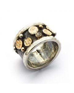 Lunar Node Sterling Sølv Ring fra By Birdie med 14 Karat Guld Og 0,05 Carat Diamant