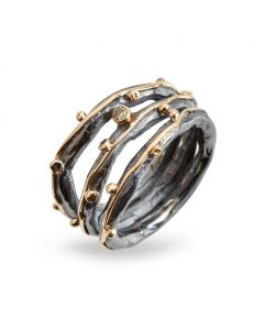 By Birdie Zeus Tribeca Sterling Sølv Ring med Diamant 0,05 Carat