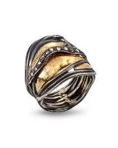 Nebula Pavé Sterling Sølv Ring fra By Birdie med 14 Karat Guld og Diamanter 0,40 Carat