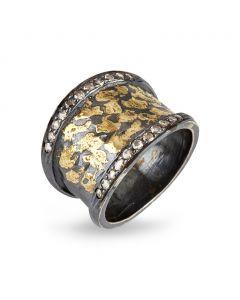 By Birdie Soho Comfort Sterling Sølv Ring med 14 Karat Guld