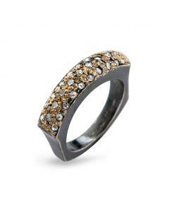 By Birdie Manhattan Sol Pavé Ring i Sterling Sølv med 14 Karat Guld og Brillanter 0,60 Carat