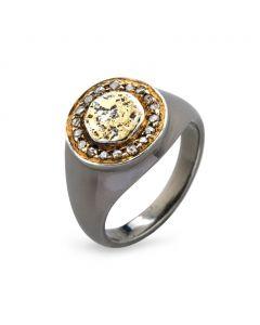 Freja Coin Pavé Sterling Sølv Ring fra By Birdie med 14 Karat Guld og Diamanter 0,30 Carat