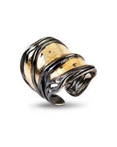 Nebula Grand Golden Sterling Sølv Ring fra By Birdie med 18 Karat Guld