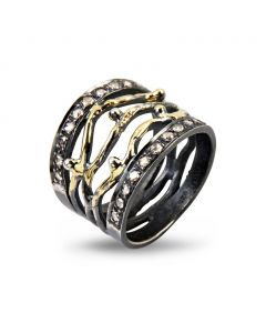 By Birdie Benedict Sterling Sølv Ring med 14 Karat Guld