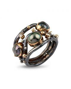 By Birdie Kepler Sterling Sølv Ring med 14 Karat Guld Og Keshi Perler og Diamanter 0,10 Carat