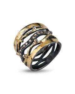 By Birdie Benedict Golden Sterling Sølv Ring med 18 Karat Guld og Brillanter 0,20 Carat