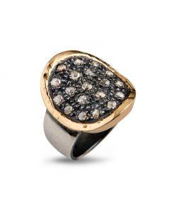 Topkapi Sterling Sølv Ring fra By Birdie med 14 Karat Guld og Diamanter 0,95 Carat