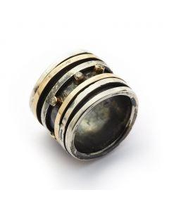 By Birdie Karma King Sterling Sølv Ring med 18 Karat Guld Og 3 Diamanter
