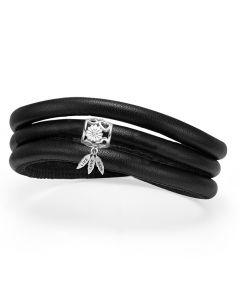 Støt Brysterne Læder Armbånd fra Christina Watches med Sølvcharm