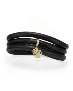 Red Barnet Kampagne Læder Armbånd fra Christina Watches med Forgyldt Sølvvedhæng