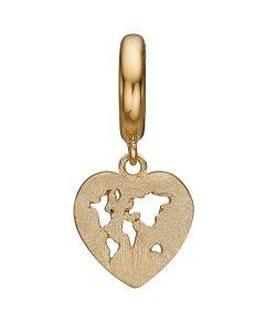 World Heart Charm Forgyldt Sølv Charm fra Christina Watches