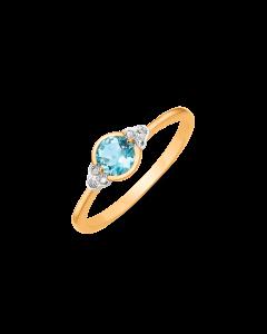 Støvring Design 8 Karat Guld Ring med Blå Topas