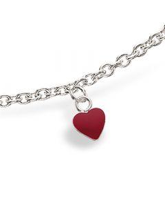 Rødt Hjerte Sterling Sølv Børnearmbånd fra Scrouples