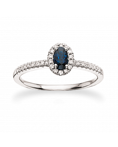Scrouples 14 Karat Hvidguld Ring med Safir og Brillanter 0,18 Carat W/SI