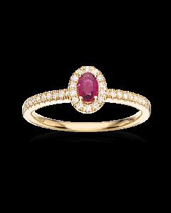 Scrouples Roset Ring i 14 Karat Guld med Rubin og Brillanter 0,18 Carat W/SI