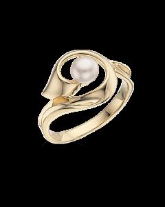 Scrouples Ring i 8 Karat Guld med Ferskvandsperle