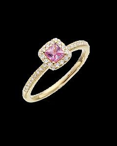 Diana 14 Karat Guld Ring fra Scrouples med Pink Safir
