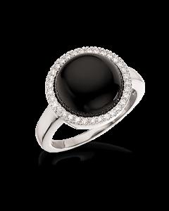 Rhodineret Sølv Ring fra Scrouples med Onyx 725542