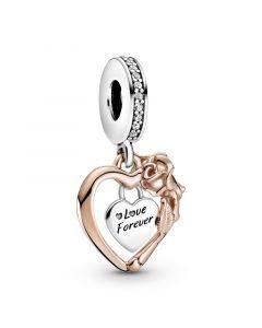 Pandora Love Forever Heart Rosaforgyldt Sølv Charm