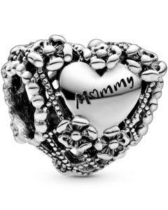 Floral Heart Sterling Sølv Charm fra Pandora 798892C00