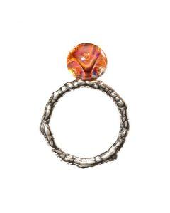 Troldekugler Sterling Sølv Ring med Rød Sten