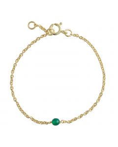 Lene Visholm Armbånd i Forgyldt Sølv med Grøn Onyx B.1236FG-GRØN