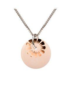 Scherning Bloom Nude Bronze Sterling Sølv Halskæde med Porcelæn